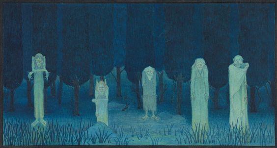 Herbert E. Crowley (British, London 1873–1939 Zurich), Five Ghouls, 1911–24, Watercolor, Image 14.4 × 27.6 cm