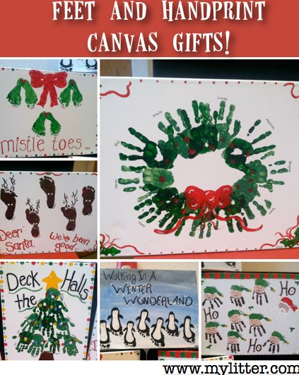 Simple homemade gifts footprint canvas gifts simple for Homemade christmas gift ideas for grandparents