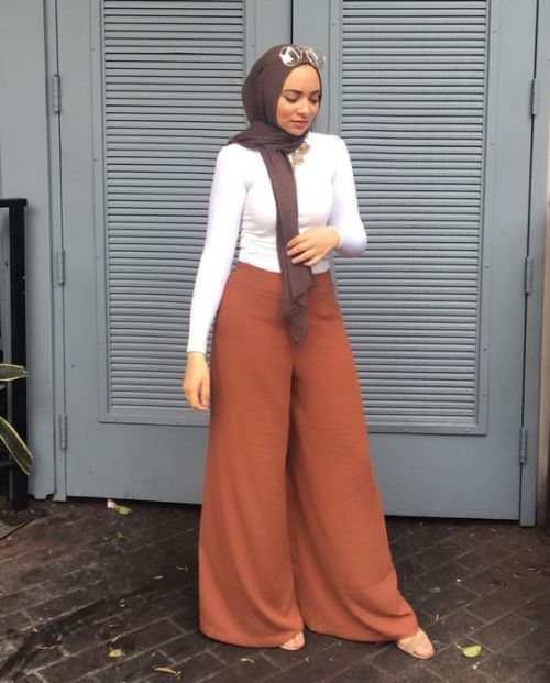 rusty palazzo pants hijab-Hijab fashion ideas for Easter – Just Trendy Girls