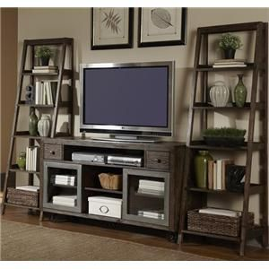 Add a modern, industrial style to your home with this entertainment wall unit. Constructed using metal tube work and pine veneers this piece is finished in a rustic brown color to give it an aged look. A large media bay in the tv stand has plenty of room for media consoles and two small drawers are perfect for storing remotes and other accessories. Continuing the unique design are two sliding doors with tempered glass inserts and framed by burnished metal. Two large ladder piers allow you to…