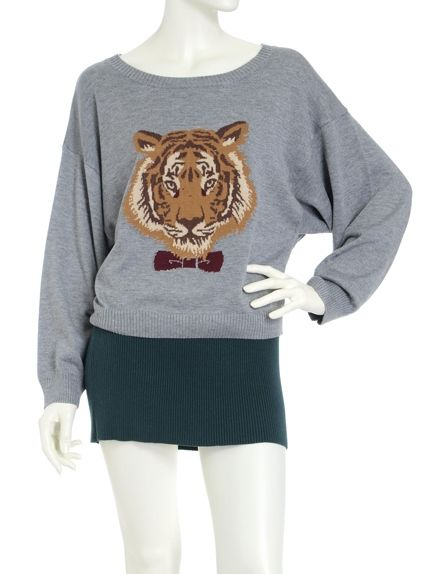 Vintage Sweet Tiger Head Round Neck Pullover Knit Loose Sweater Gray