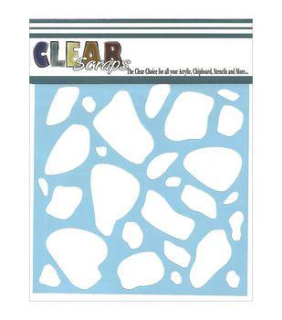 Clear Scraps Stencils Stones