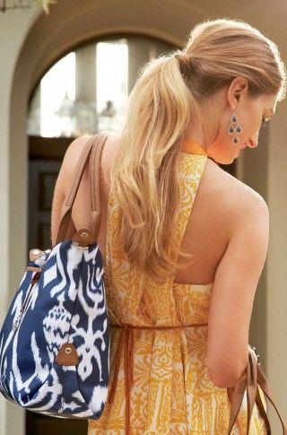 Navy Blue Ikat Tote Bag & Carryall Satchel | How Does She Do It Tote | Stella & Dot click to shop @ www.stelladot.com/loriakowalik