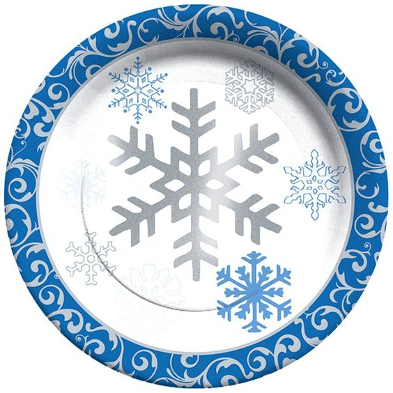Amazon.com: C.R. Gibson Winter Snowflakes 8 Count Paper Lunch/Dessert Plates, Blue/Silver: Kitchen & Dining