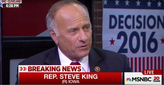 Rep. Stephen King objected to a comment during a cable news discussion at MSNBC that this will be the last election dominated by old white people.Rep. Steve King (R-Iowa) offered an unusual defense of the racial homogeneity of his party during a panel on MSNBC Monday evening.
