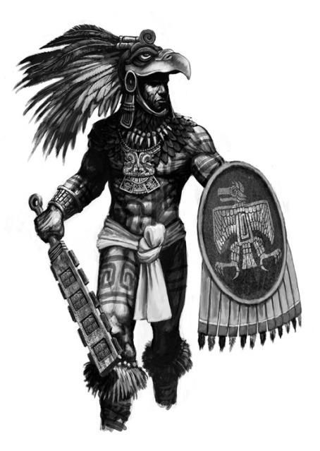 Maztlani eagle knight prepares for battle. From Totems of the Dead, a Savage Worlds RPG Sourcebook. Art by Tomek Tworek.