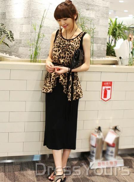 US$15.99 New Arrival Korean Style Leopard Chiffon with Belt Two Piece Set Maxi Dress. #Dresses #Korean #Two #Maxi