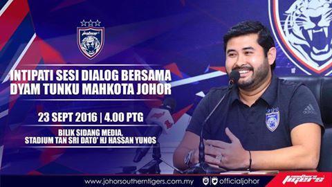 50 Senarai intipati sesi dialog bersama DYAM Tunku Mahkota Johor   SESI DIALOG BERSAMA DYAM TUNKU MAHKOTA JOHOR  SESI DIALOG BERSAMA DYAM TUNKU MAHKOTA JOHOR  1. Kejayaan menjuarai Liga Super Malaysia tiga kali berturut-turut adalah kejayaan yang paling istimewa bagi saya di antara kejayaan-kejayaan yang dicapai oleh pasukan ini sejak saya mengambil alih JDT pada tahun 2013. Ia adalah sesuatu yang telah saya rancangkan dari tahun 2015 bahawa JDT akan menjadi pasukan pertama memenangi Liga…