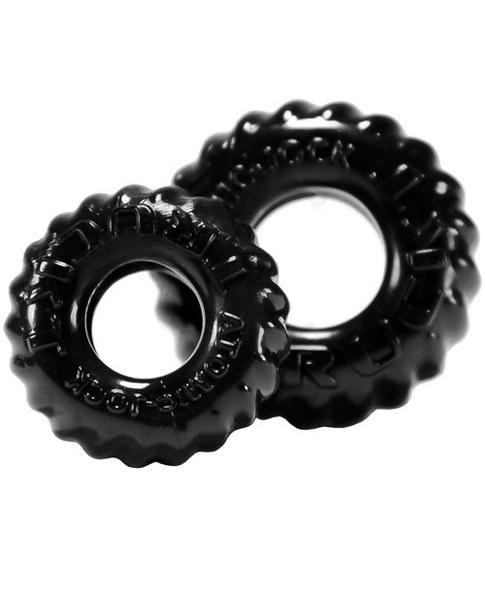 Oxballs Truckt Cock & Ball Ring - Black Pack Of 2