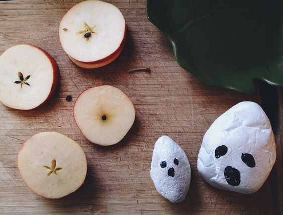 Apple stars and ghost rocks (by Finn with a little help from Mama ). Finding a little magic everywhere. #keeplookingalways  by dearpomegranates