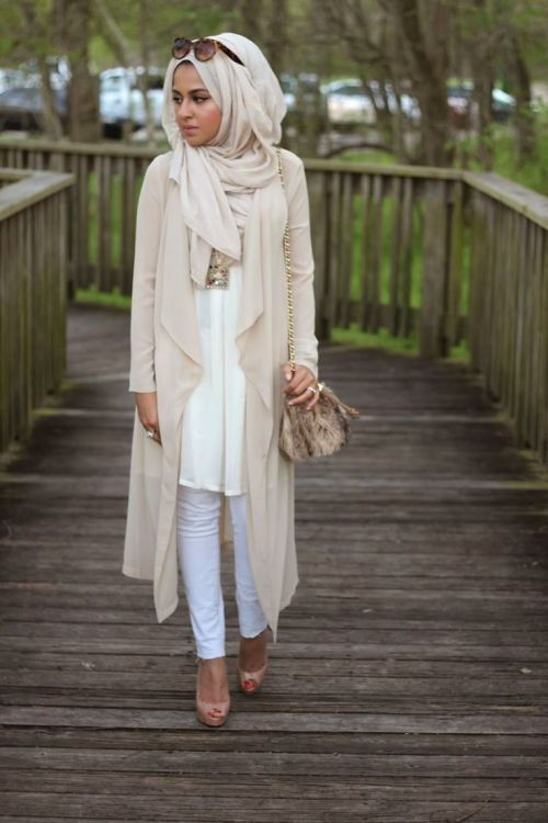 Long Fall Pastel Cardigan Hijab Outfit Fall Stylish Hijab