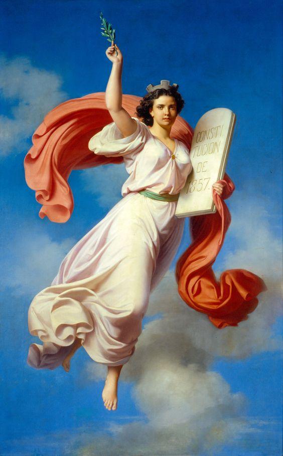 "Petronilo Monroy, ""Alegoría de la Constitución de 1857"". Óleo/cartón. 28x18.5 cm"