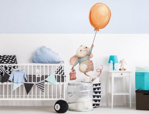 Wandtattoo Kinderzimmer Aquarell Maus Mit Luftballon I Love