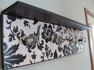 Tutorial- Coat Rack/Peg Board made with wood, vintage style knobs & wrapping paper! Yes, wrapping paper!
