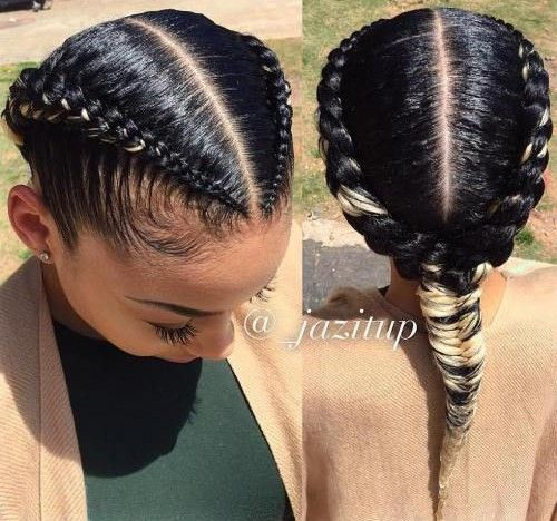 Useful 19 Two French Braids Black Hairstyles New Natural Hairstyles Natural Hair Styles Two Braid Hairstyles Braids For Black Hair