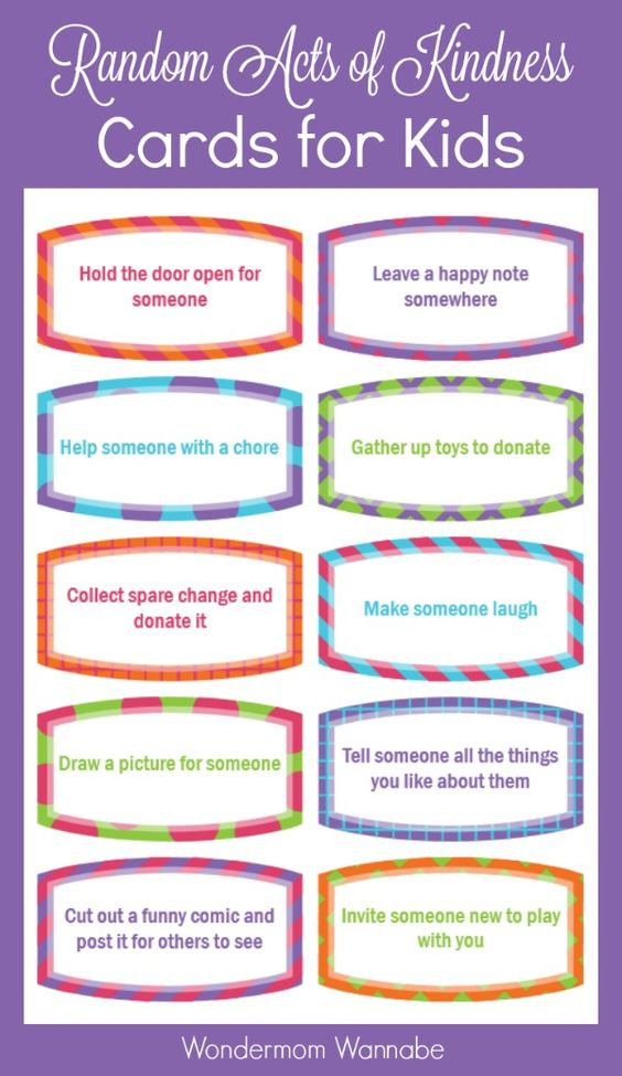 Download free printable Random Acts of Kindness Cards for Kids.