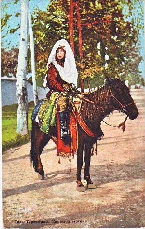 Kazakh girl riding a horse