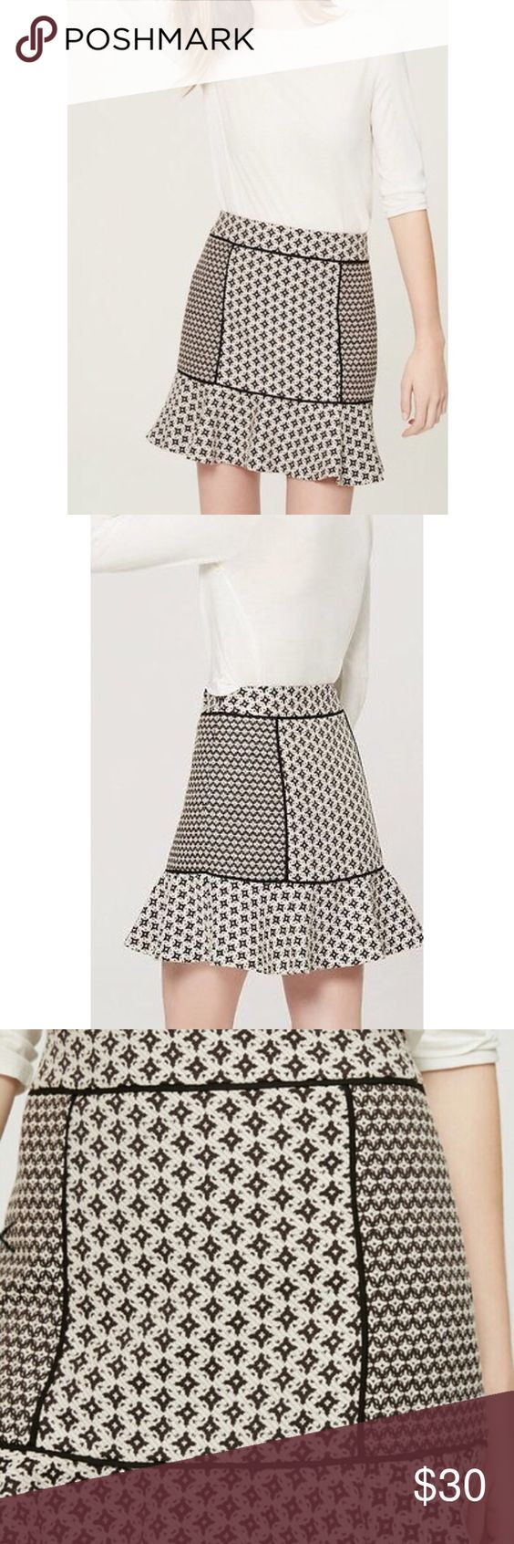 LOFT Jacquard Flippy Skirt NWOT Mixed monochrome patterns meet on this femme flare, and the results are modern in the sweetest way. Raised-seam paneling. Side zip. Flared hem. Lined. Brand new without tags. LOFT Skirts
