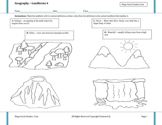 Printable Landform Worksheets Landforms For Kids