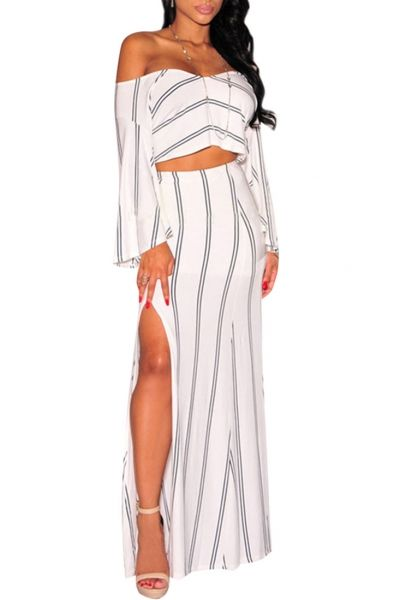 White Sexy Off Shoulder High Split Striped Maxi Dress