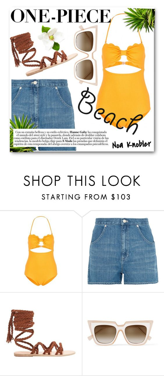"""One-Piece"" by noaknobler ❤ liked on Polyvore featuring Marysia Swim, Madewell, Ancient Greek Sandals and self-portrait"