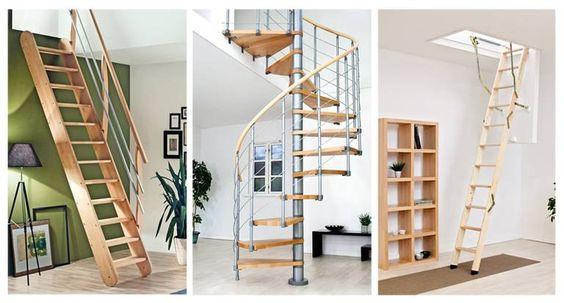 Spitzboden, Treppe, Raumspartreppe, Spindeltreppe, Wendeltreppe, Dachbodentreppe, Foto: Treppen Intercon/HLC (li.), DOLLE Treppen (Mitte und re.)