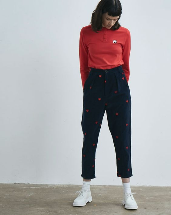 Heart Emb Cord Pants
