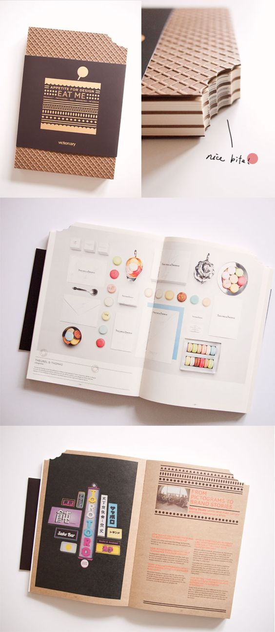 Interessante a página preto + kraft. Uma boa ideia para apresentação de projetos e trabalhos universitários/escolares. Apresentação elegante com material acessível. Fonte: Book design - Eat Me