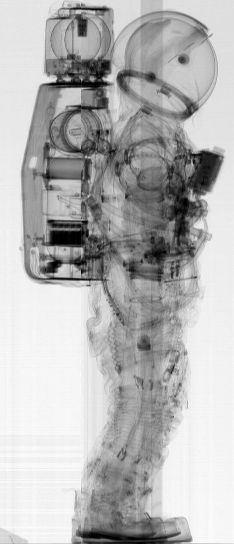 A pre-flight CT scan of a NASA A7L spacesuit, the type of suit worn during the Apollo missions.    These scans were apparently taken to ensure that there were no pins or needle points accidentally left in the apparel that could puncture the pressure suite.