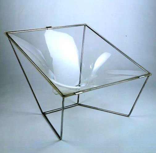 David Colwell; Chromed Steel and Molded Acrylic 'Contour Chair', 1968.
