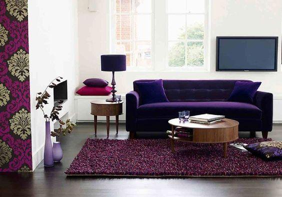 Sofá roxo | Decoração de sala