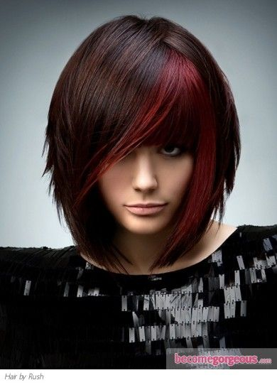 brunette hair with red highlights. muydulce