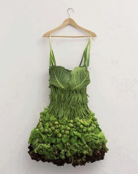 Edible swimwear: Lady Gaga, Veggie Dress, Salad Dressing, Food Network/Trisha, Green Dress, Sarah Illenberger, Food Art