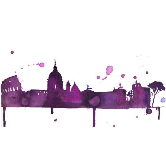 Watercolor Travel Illustration - A Perfect Evening in Rome print ($25) ❤ liked on Polyvore