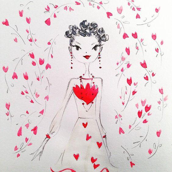 «Valentino's Valentine. ❤️ this dress. @maisonvalentino #prefall #fashion #sketch #valentine #love»