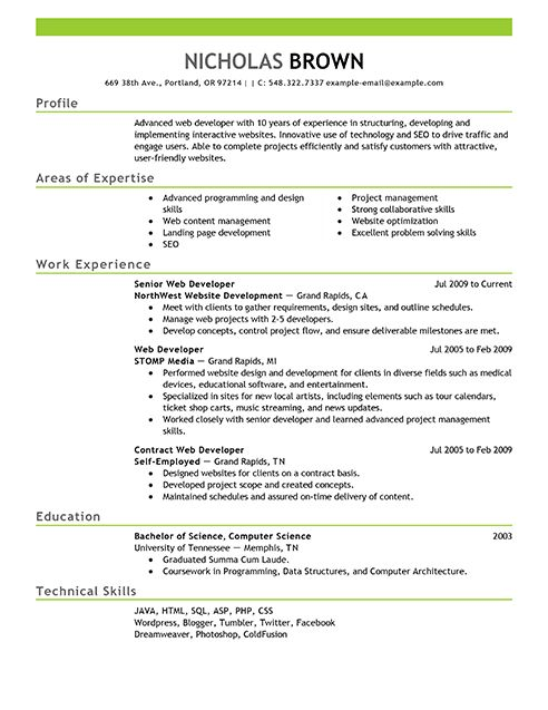 4210 best Resume Job images on Pinterest Job resume format, Free - senior web developer resume