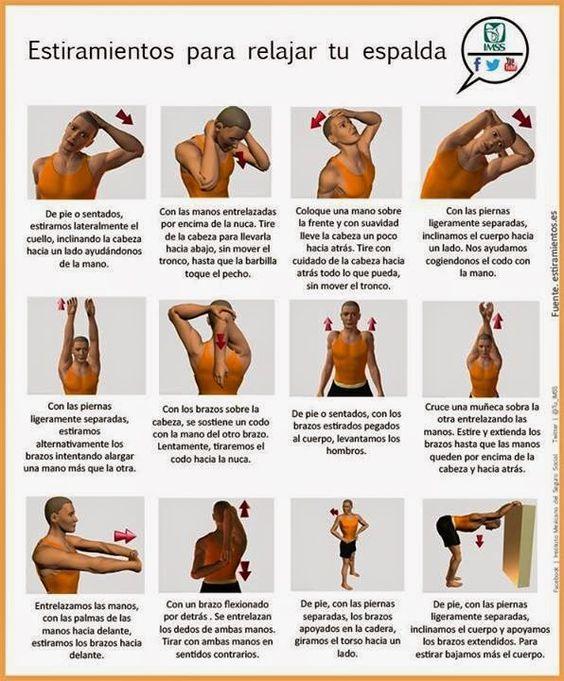 12 estiramientos para relajar tu espalda. #salud #infografias