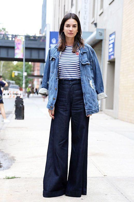 Le Fashion Blog Leila Yavari Comme Des Garcons Striped Tee Oversize Denim Jacket Wide Leg Jeans For Fall Via The Thread: