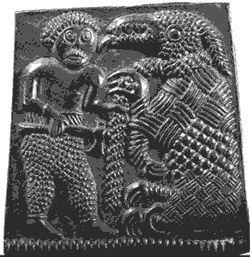 Tyr Binding the Fenris Wolf  From a 6th cent. A.D. helmet plate die, Torslunda, Sweden.
