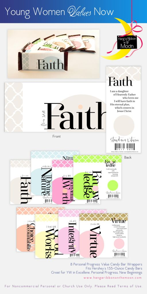 Candy-bar wrappers from the YW Values Now Collection: a suite of LDS Young Women's printables celebration Personal Progress. Free downloads!