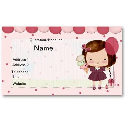 #Kids #Party #Business Card  Do you run a children's party business? Then this adorable kids partry business card should do the trick, light pink with a cute little girl on the front holding an ice cream cone and balloon. all dressed in her pretty party dress. A cute card,that will make a great first impression with your future clients!  $19.10 per pack of 100