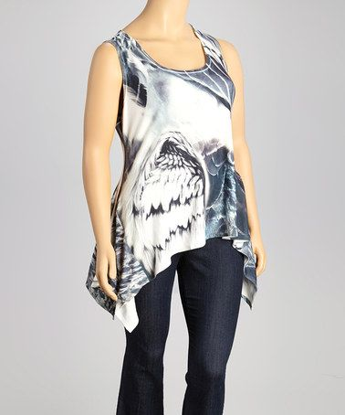 Look at this #zulilyfind! Black & White Abstract Sidetail Tank - Plus #zulilyfinds