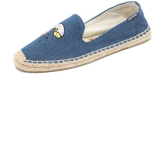 Soludos Jason Polan x Soludos Donut Smoking Slipper Espadrilles (¥8,855) ❤ liked on Polyvore featuring shoes, sandals, vintage denim, espadrille sandals, embroidered shoes, soludos shoes, vintage shoes and woven sandals