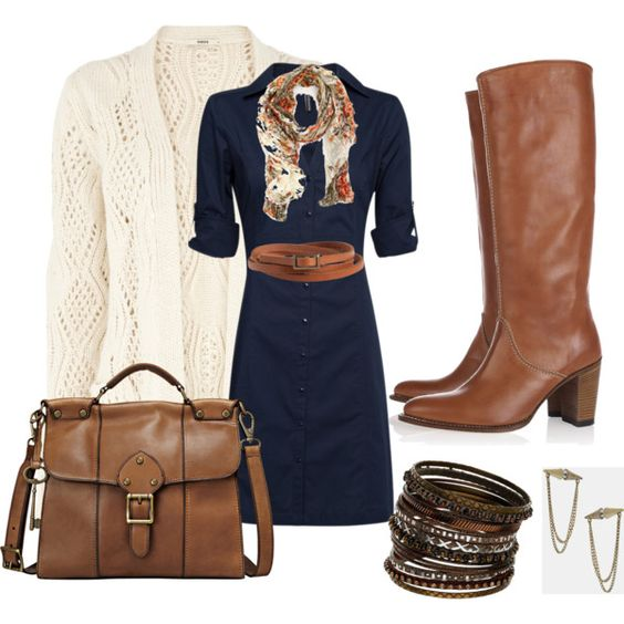 Navy dress, brown boots, cream sweater, pattern scarf