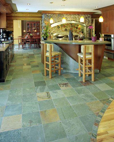 Slate floor and backsplash tile nice transition from for Nice kitchen floor tiles