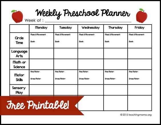 Weekly Preschool Planner Preschool planner, Free printable and - sample preschool lesson plan