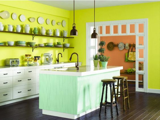 Create a bright kitchen with chartreuse sw 0073 walls for Bright kitchen paint colors