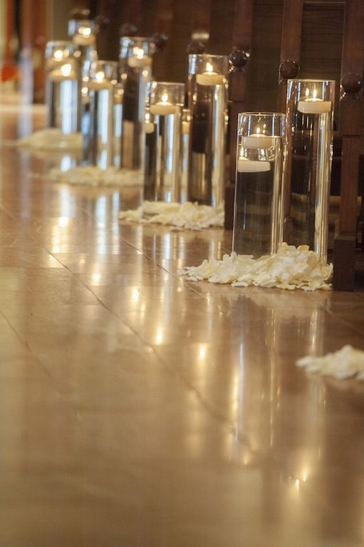 Floating Candles In Glasses And Petals Aisle And Ceremony