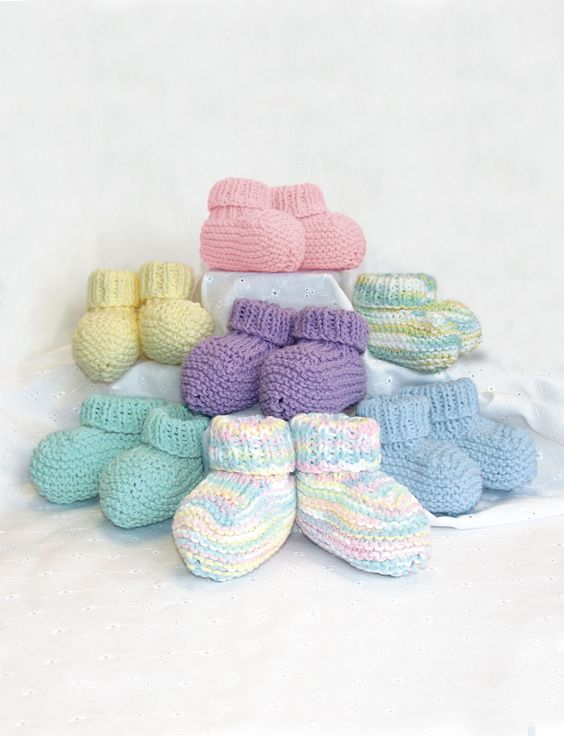 Baby booties, Easy knitting patterns and Knitting patterns on Pinterest
