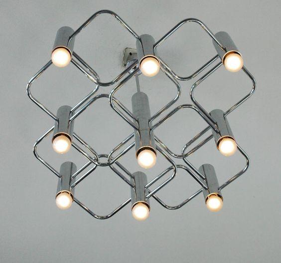 Chrome Boulanger chandelier pendant 9 point  vintage light lamp Belgian design, 2 available